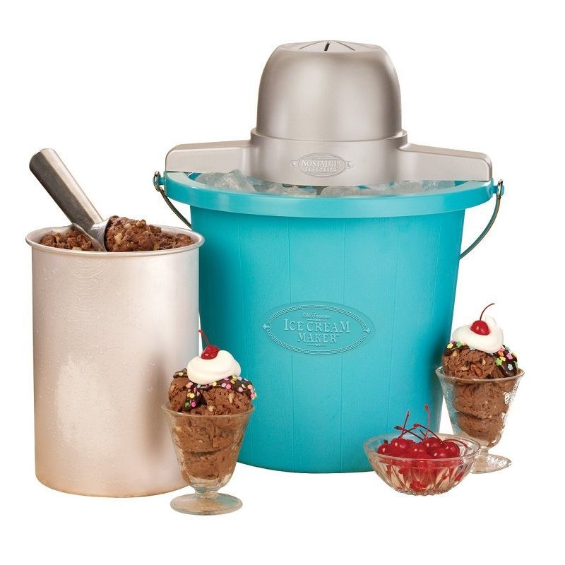 Nostalgia 4-Quart Ice Cream Maker With Blue Bucket